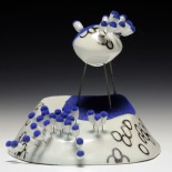 bear/burgeon. porcelain, luster, flocking, nichrome wire, glaze. 6 in. x 6 in. x 7 in. 2011