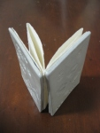 accordian book with soda fired porcelain cover and hand made paper pages.
