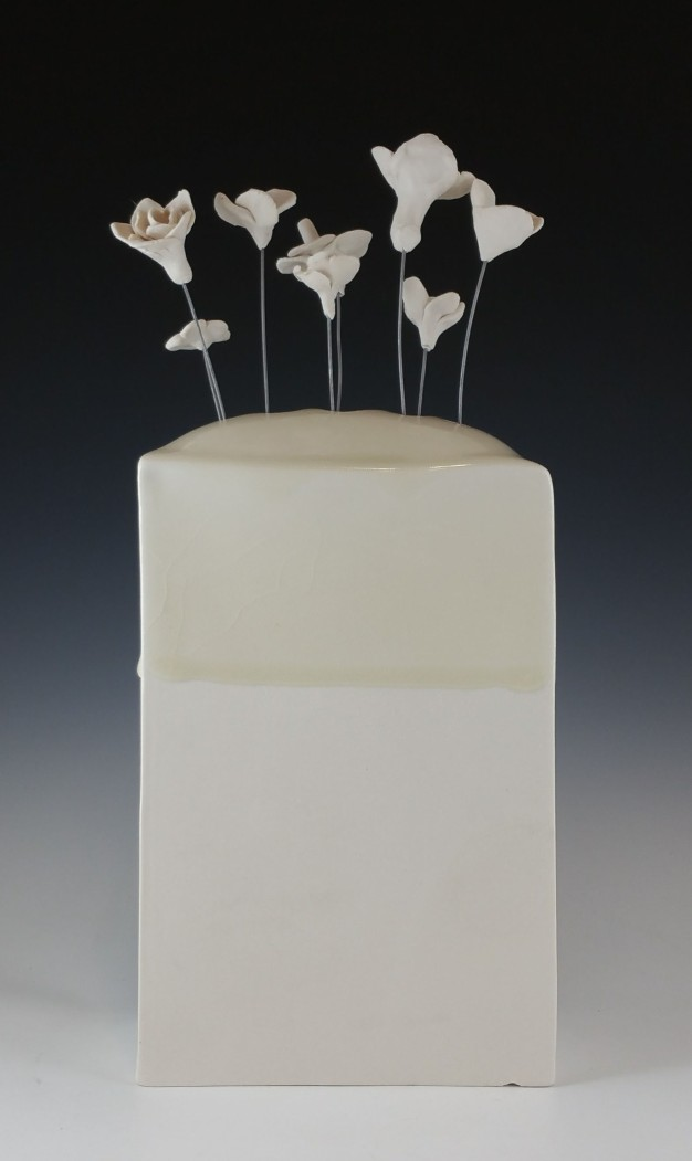 10,690 Wild Flowers, Vase 2, Porcelain, glaze, nichrome wire. 2017.All flowers were made during discussions centered on Reproductive Justice in OR and culminated in a discussion workshop in collaboration with local organizations Forward Together, Momentum Alliance and Western States Center. Flowers are sold for $1 each and all funds raised go to the Network for Reproductive Options, an abortion fund for Oregon and Idaho. 2017