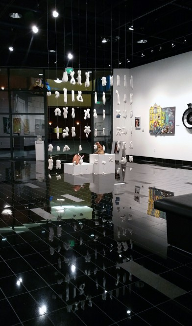 the life and genome of henrietta lacks. detail. porcelain, glaze, underglaze, monofilament. 8 ft. x 8 ft. area installed. 2016